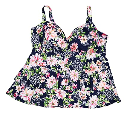 260a43c7cc034 Swim Solutions Plus Size Juliet Floral Print Tiered Tankini Top (Navy, 22W)