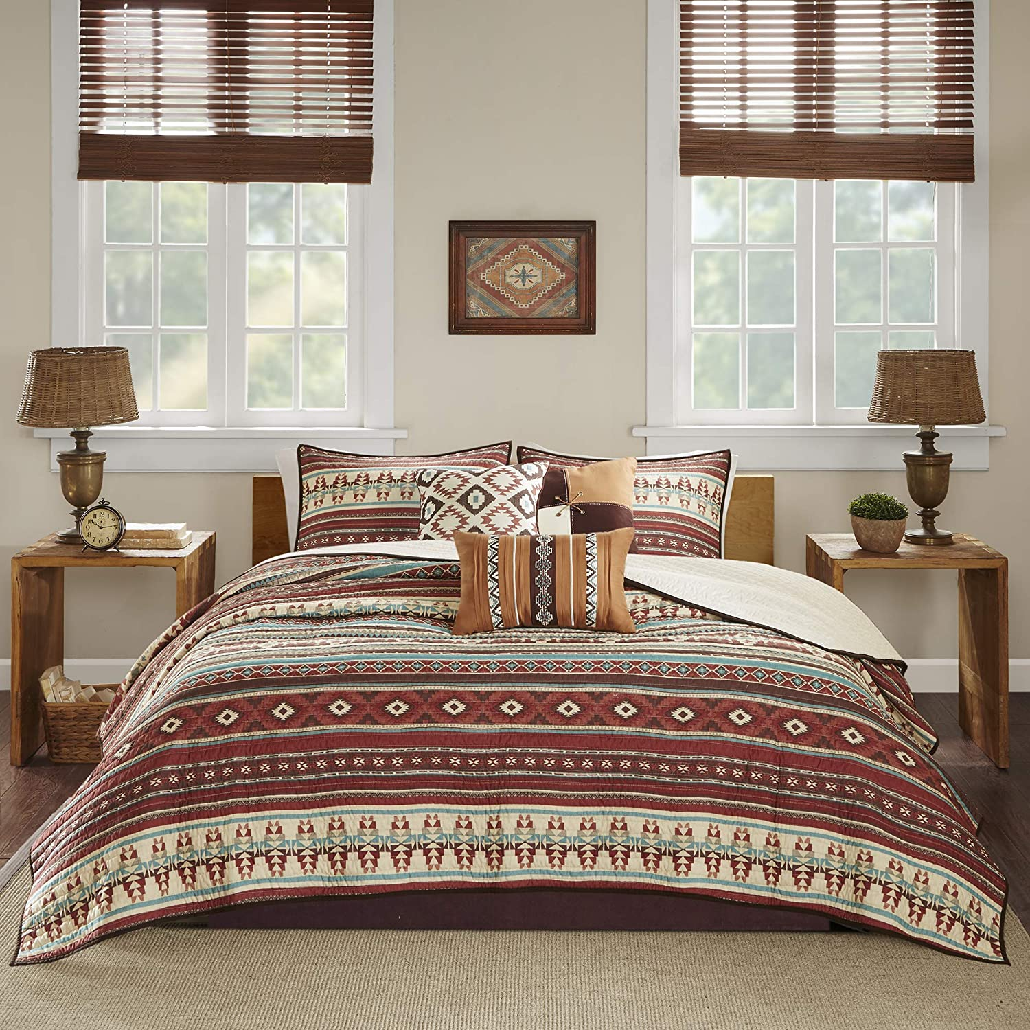 """Madison Park Quilt Rustic Southwestern All Season, Breathable Coverlet Bedspread, Lightweight Bedding, Shams, Decorative Pillow, Full/Queen(90""""x90""""), Taos, Ikat Red/Spice"""
