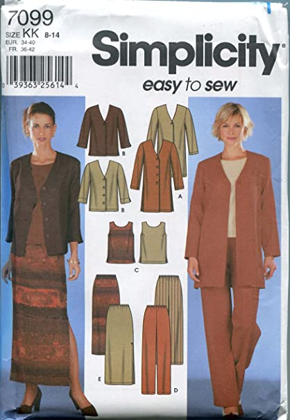 Simplicity 7099 Sewing Pattern Misses Jacket Top Pants Skirt Size 8 - 14 - Bust 31