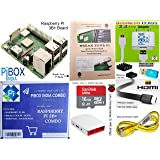 Raspberry Pi 3B+ / 3B Plus Motherboard Combo - PiBOX India Variation (PiBOX - Essential Combo Red/White 3215RW) - Now with 2.4 Amp Power Adapter