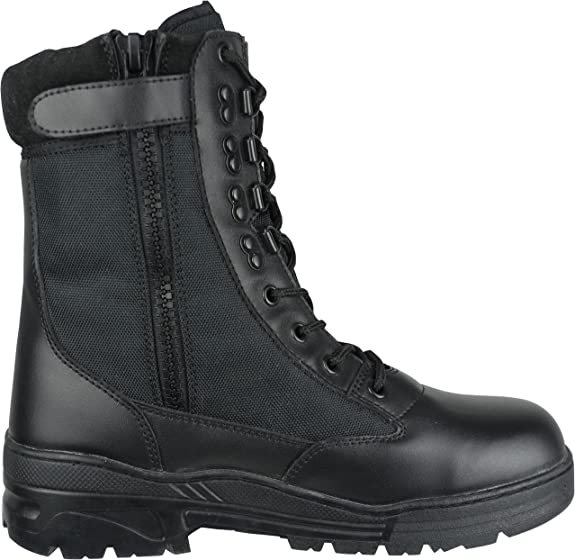 SAVAGE ISLAND COMBAT BOOTS BLACK LEATHER SIDE ZIP ARMY