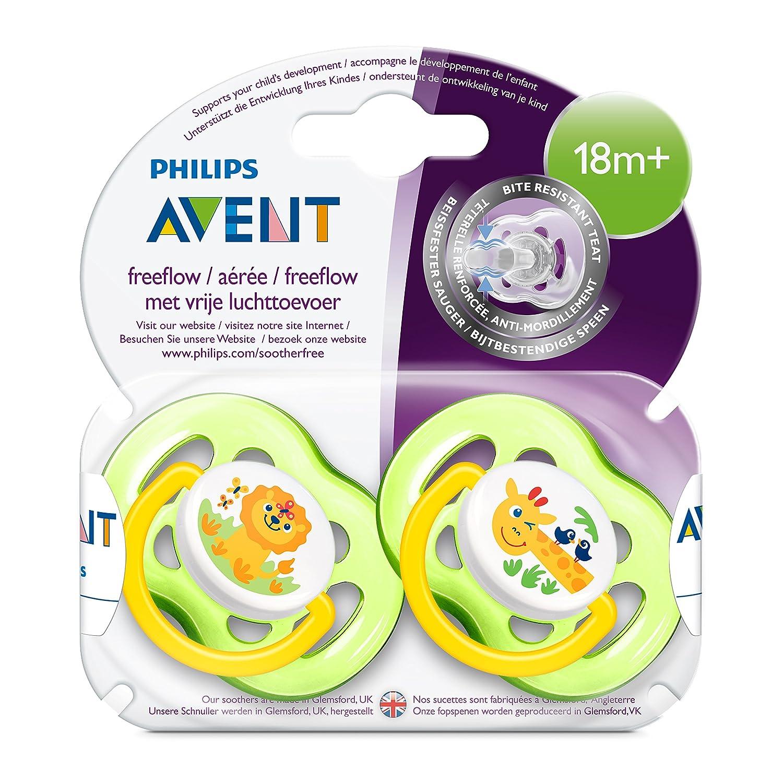 Philips Avent SCF186/23 - Pack de 2 chupetes decorados con animales, tetina extra resistente, 18 meses, unisex