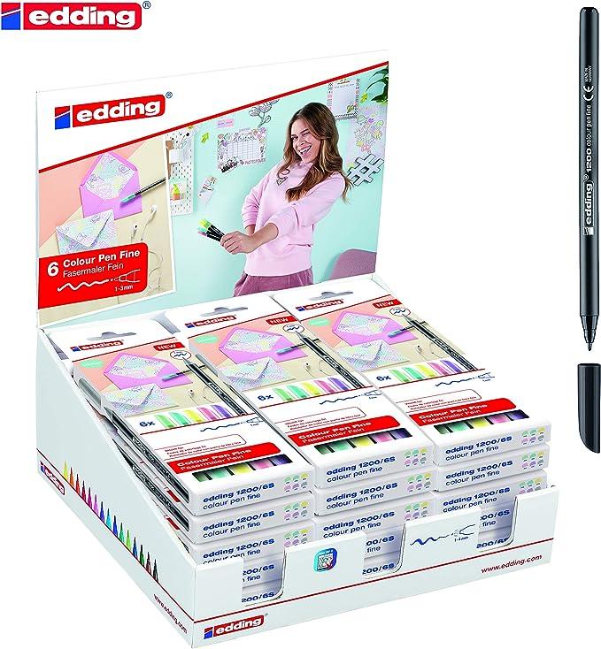 Estuche 6 rotuladores Edding 1200 pastel: Amazon.es: Oficina y papelería