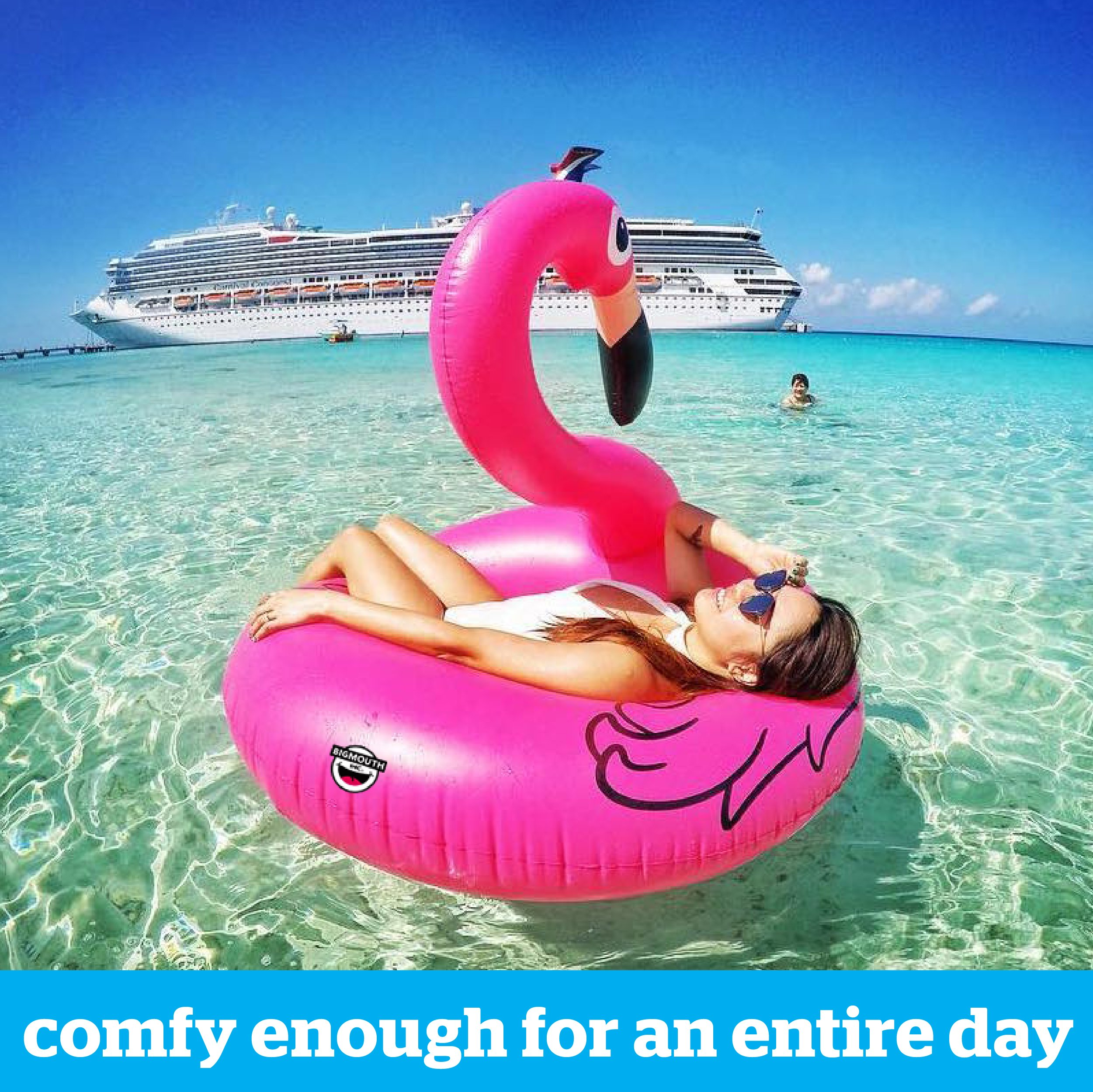 BigMouth Inc Pink Flamingo Pool Float, Inflates to Over 4ft. Wide, Funny Inflatable Vinyl Summer Pool or Beach Toy, Patch Kit Included