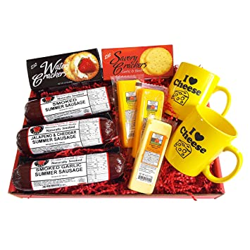 1d384f8a6d60 I LOVE CHEESE Deluxe Gift Basket - features Smoked Summer Sausages ...