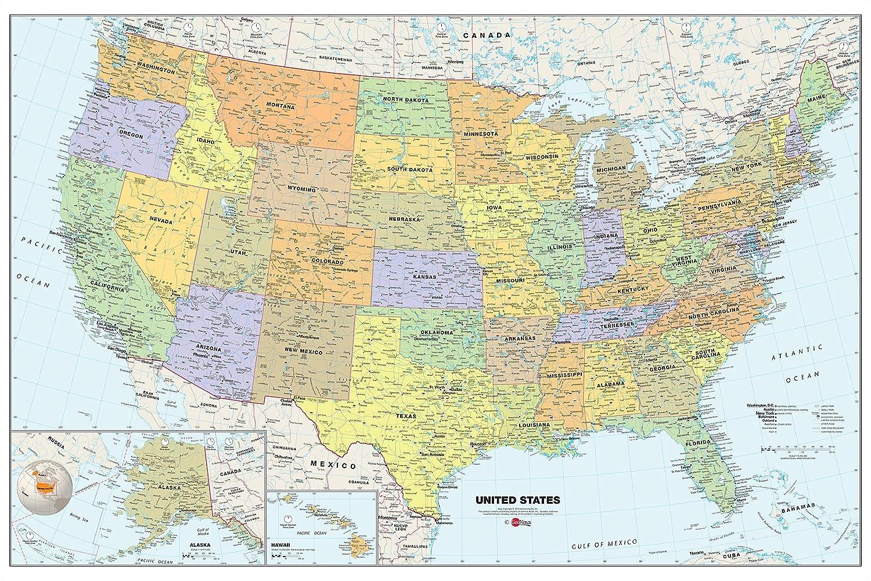 Amazoncom Brewster Wall Pops WPE Peel  Stick USA DryErase - Usa map oceans