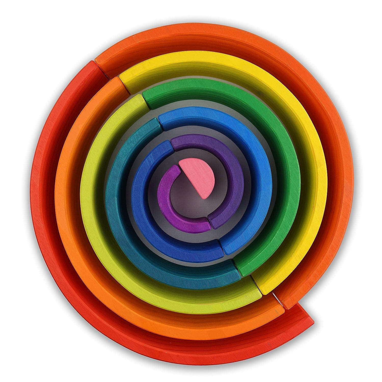 f0d843ede6e19d ... Montessori Waldorfschule - Lernklötze Regenbogen 5 Piece Natural  Semicircle ...