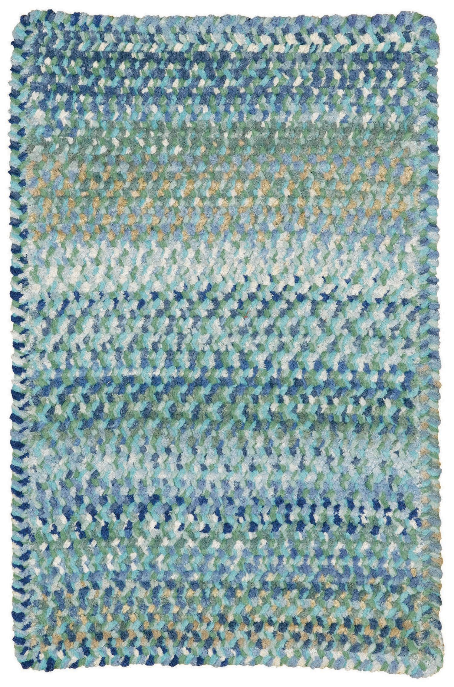 Capel Rugs Ocracoke Cross Sewn Rectangle Braided Area Rug, 24'' x 36'', Light Blue