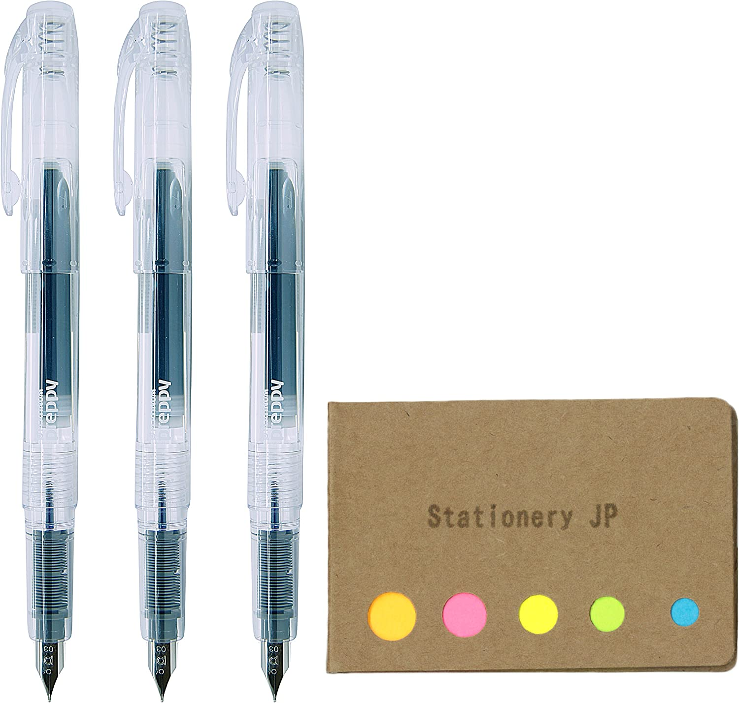 Platinum Preppy Rainbow Fountain Pen, Fine Point 03, Clear Body, 3-Pack, Sticky Notes Value Set