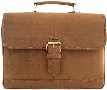 69d03060c0f40 LEABAGS Orlando Aktentasche aus echtem Büffel-Leder im Vintage Look - Braun