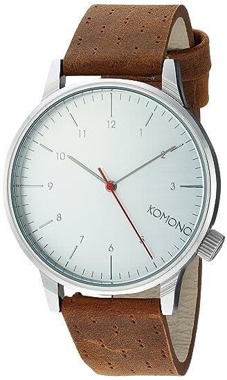 Komono Reloj Analógico de Cuarzo Unisex con Correa de Cuero - KOM-W2103: Amazon.es: Relojes