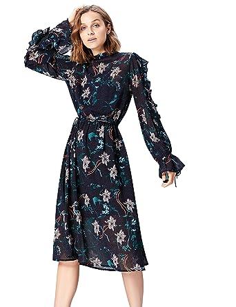 FIND Women s Midi Floral Boho Dress  Amazon.co.uk  Clothing 1b8b2186fd7