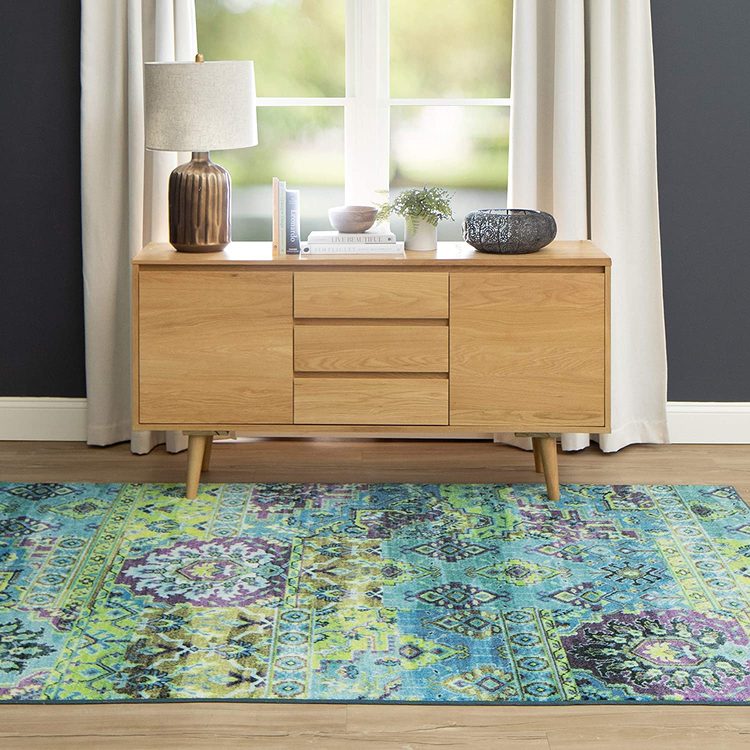 Mohawk Home Prismatic Plano Lime Green Distressed Boho Patchwork Precision Printed Area Rug, 5'x8', Blue and Green