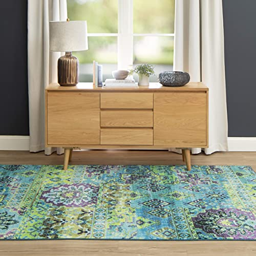 Mohawk Home Prismatic Plano Lime Green Distressed Boho Patchwork Precision Printed Area Rug