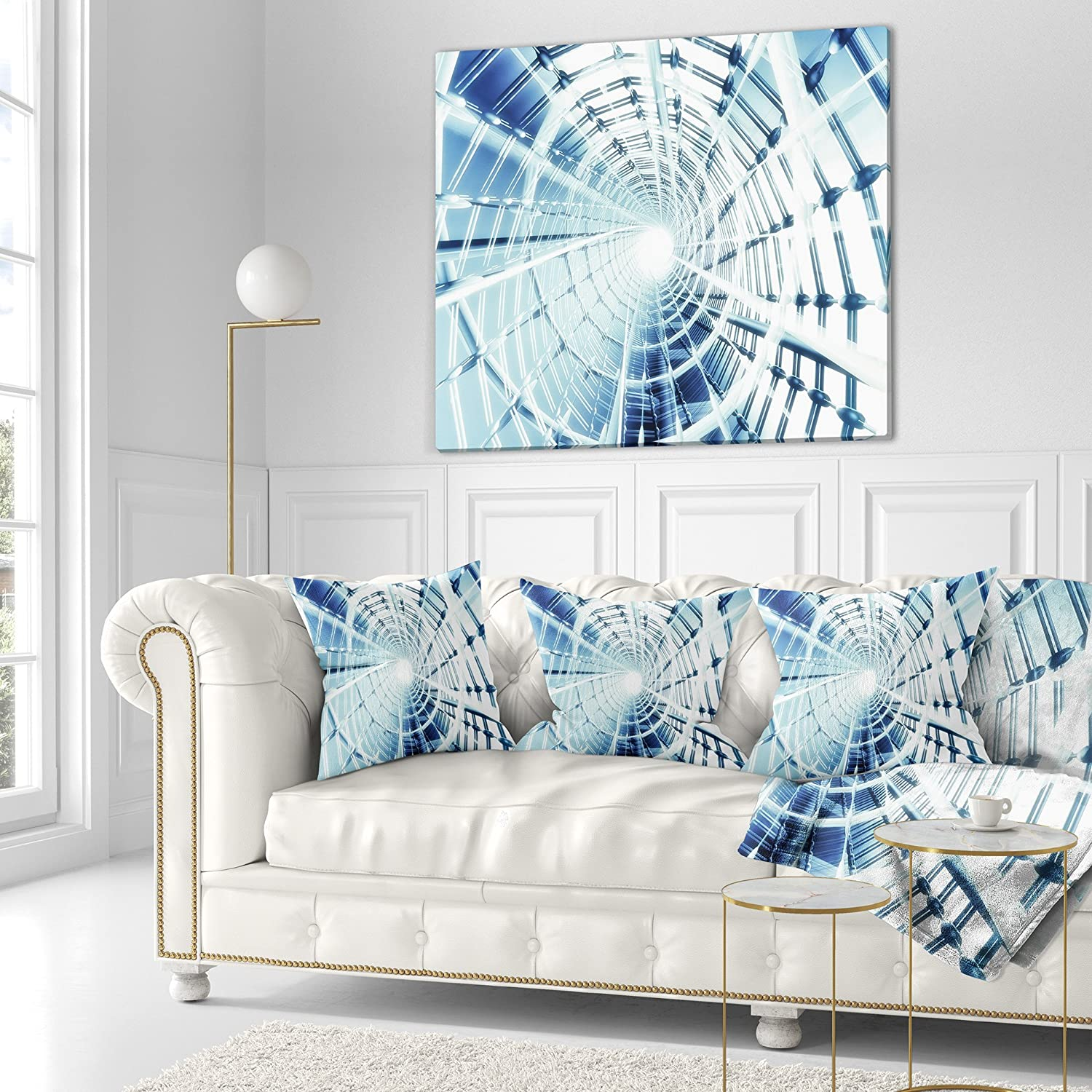 x 18 in Sofa Throw Pillow 18 in Insert Printed On Both Side in Designart CU9189-18-18 Fractal 3D Network Spiral Contemporary Cushion Cover for Living Room