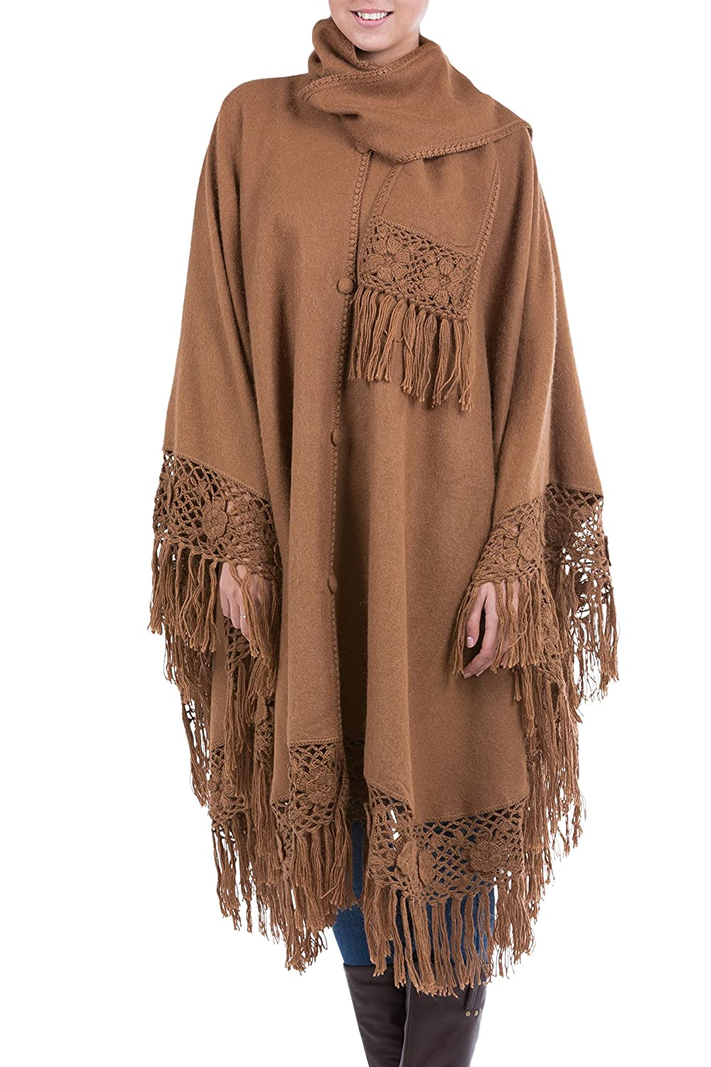 NOVICA Brown Alpaca Blend Poncho, 'Warm Earth'