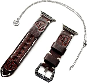 Leo Zodiac Band Set Compatible with Apple Watch 38mm 40mm 42mm 44mm iWatch 1 2 3 4 Series Brown Leather Embossed Strap and 25