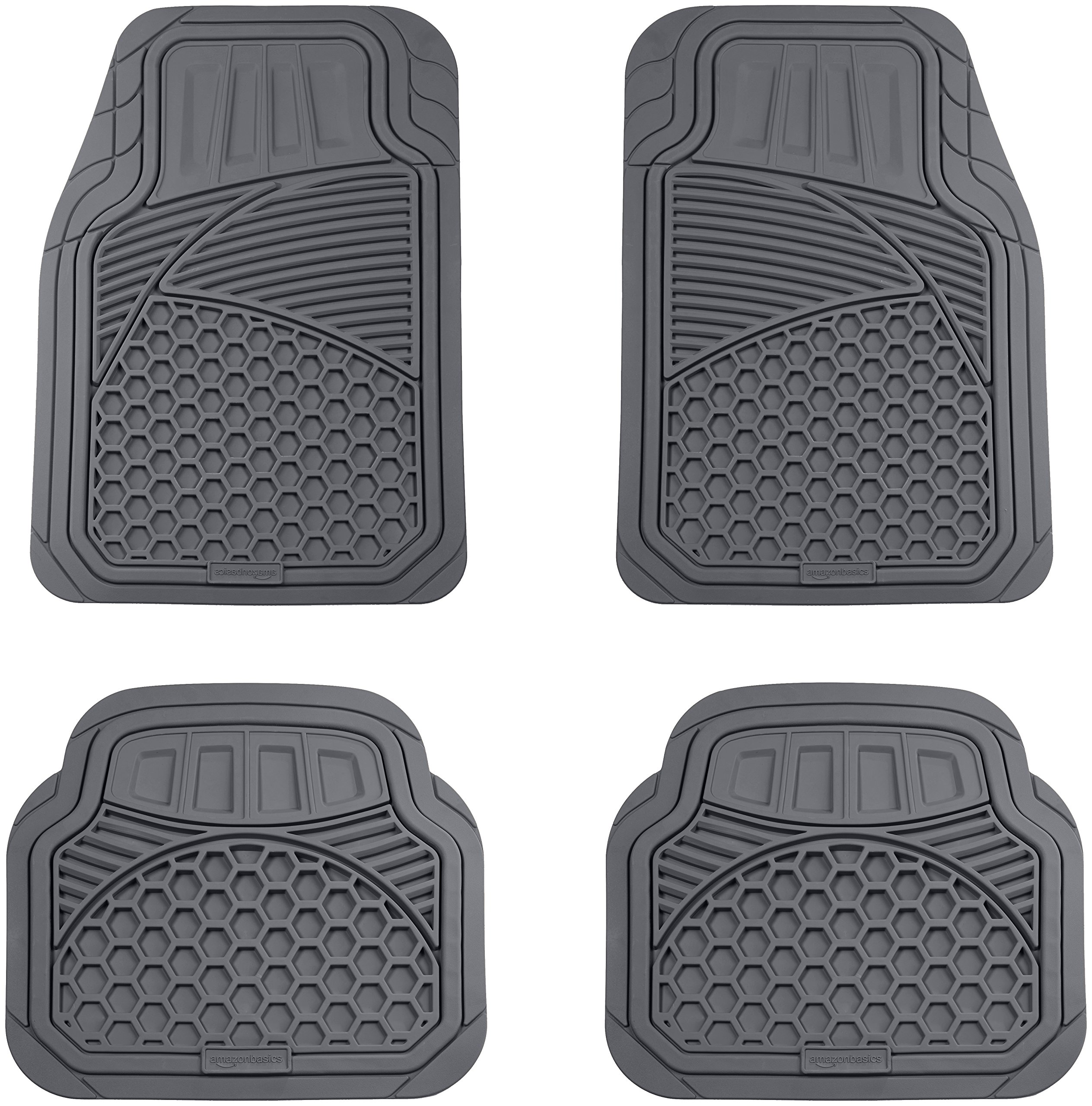 AmazonBasics 4 Piece Heavy Duty Rubber Car Floor Mat, Grey