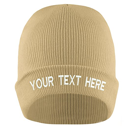 5ecb242ca1 19 Colors Adjustable Personalized Embroidery Customized Knit Hat Cap for  Winter (Beige)