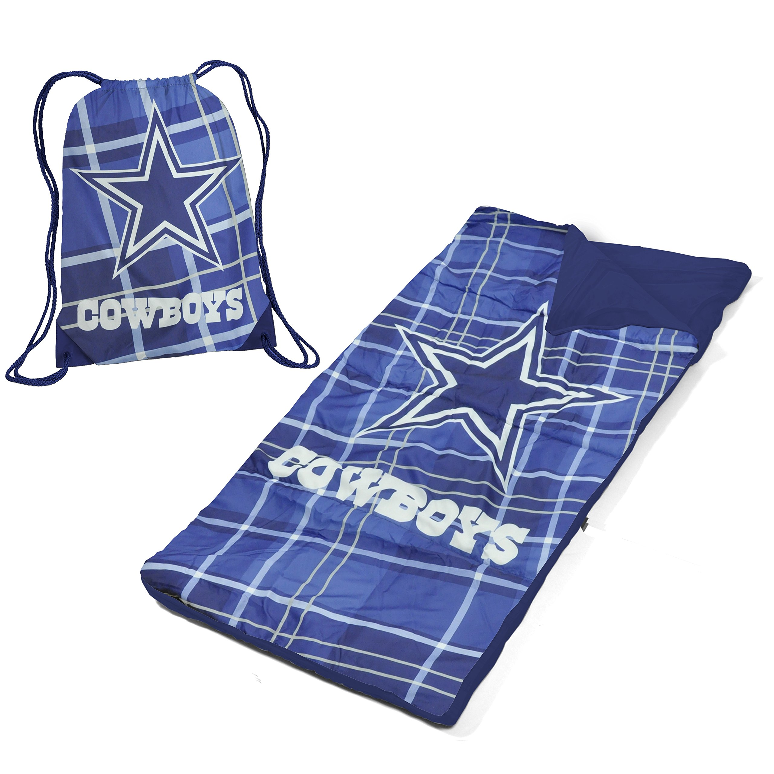 DE 2 Piece Kids Boys Blue White NFL Dallas Cowboys Themed Sleeping Bag, American Sports Football Team Sleep Sack Nap Mat, Madras Plaid Pattern String Bag Light Travel Bed Roll, Polyester