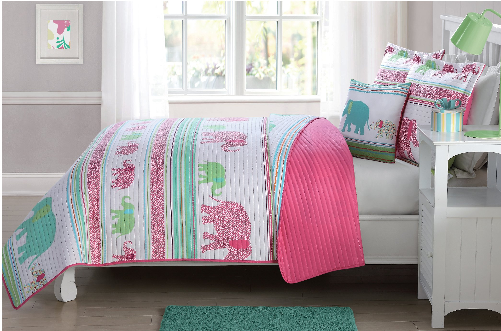 Elegant Home Multicolor Pink White Green Blue Fun Elephants Design Striped Printed Reversible Cozy Colorful 4 Piece Quilt Bedspread Set with Decorative Pillow for Kids / Girls (Full)