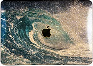 "Cavka Hard Glitter Case for Apple MacBook Pro 13"" 2019 Retina 15"" Mac Air 11"" Mac 12"" Bling Swell Shiny Summer Sea Ocean Blue Sparkly Rose Gold Glam Print Nature Silver Foam Wave Cover Glossy Design"