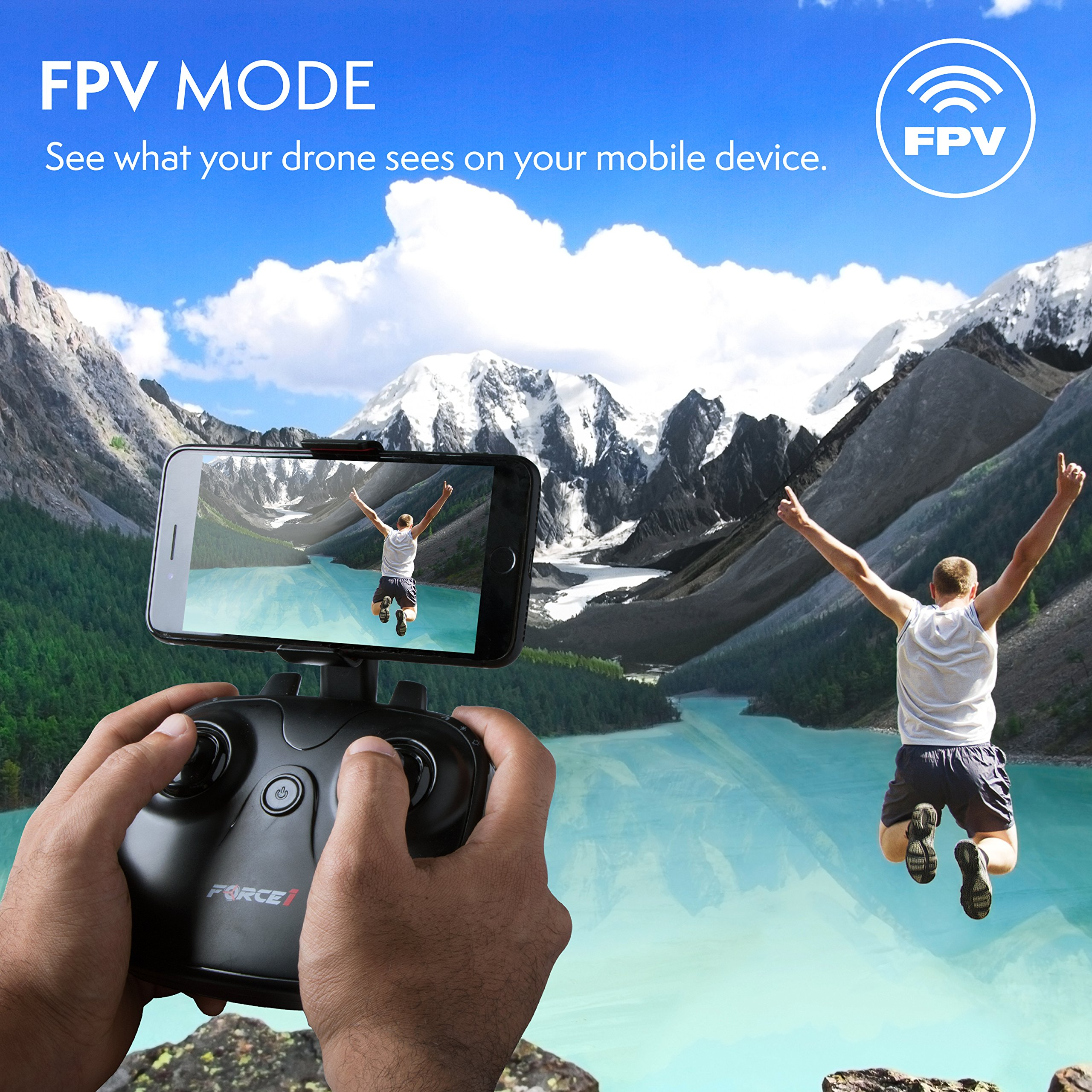 Force1 HD Drone with Camera – RC Camera Drones for Kids & Pros - U34W Dragonfly Drone with Camera Live Video, Altitude Hold & Wi-Fi FPV - Easy to Fly Quadcopter Drones for Beginners by Force1 (Image #5)