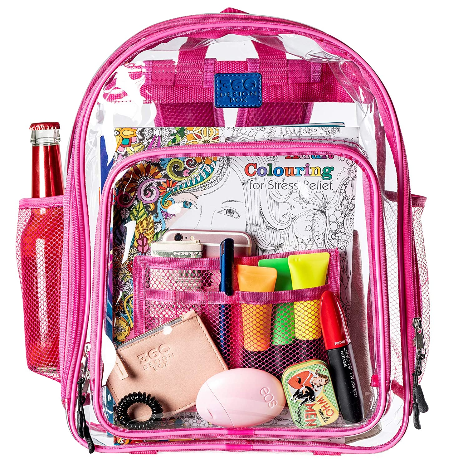 Clear School Security Backpack, Unisex Transparent Travel Work Bag, Pencil Case Included, Mesh Pockets for Water Bottles and Adjustable Padded Straps, See Through Bookbag Pink