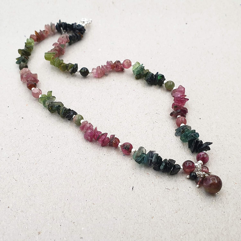 Strawberry Quartz Necklace with Watermelon Tourmaline Handmade Copper