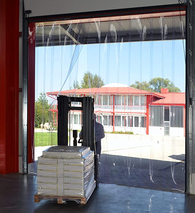 PVC Streifenvorhang Lamellen 2x200mm H2,25 x B2,40 m fertig vormontiert VZ