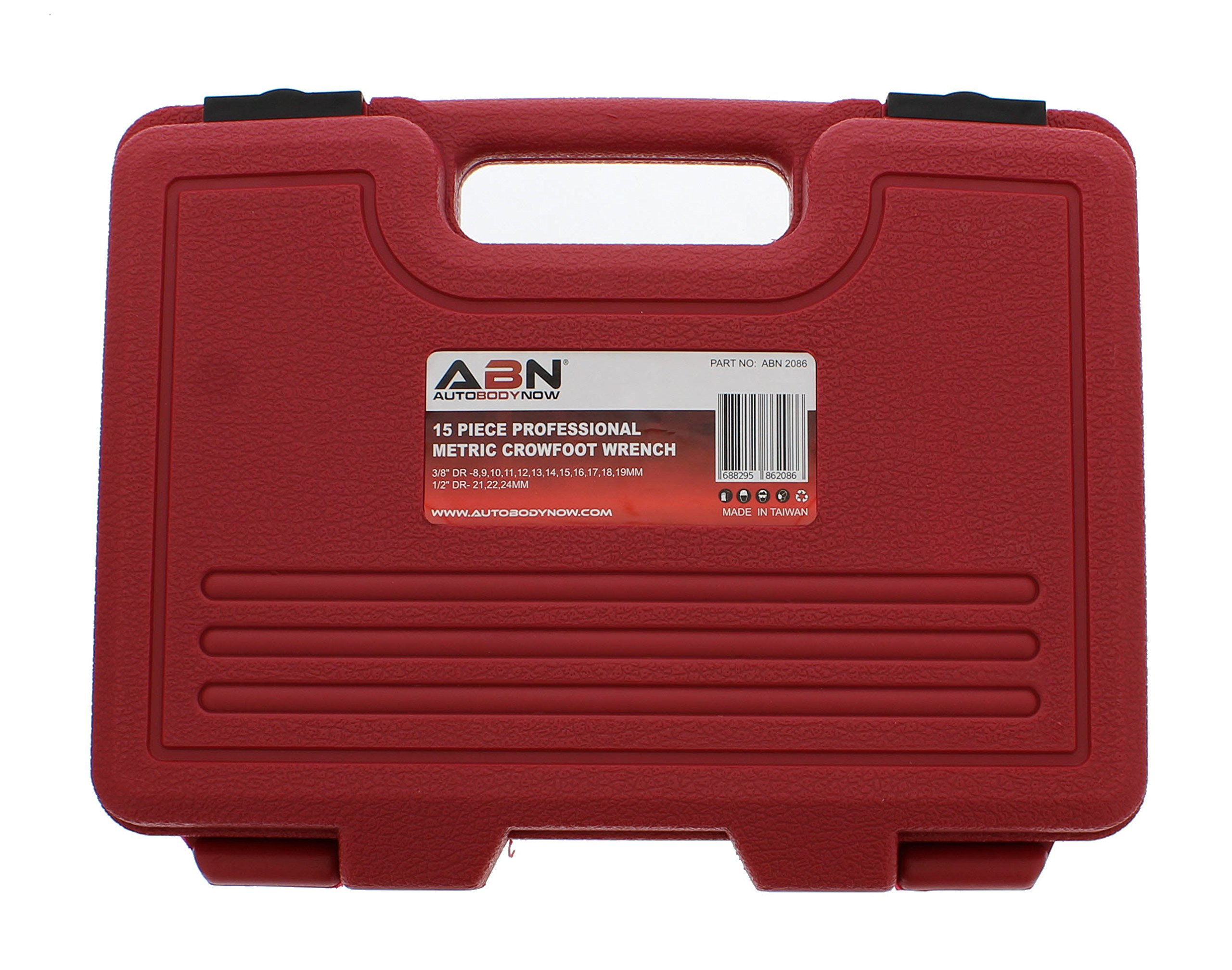 ABN Jumbo Crowfoot Flare Nut Wrench Set Metric 15-Piece Tool Kit for 3/8in and 1/2in Drive Ratchet by ABN (Image #5)