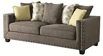 coaster kelvington tuxedo sofa with nail head trim dark wood legs loose back pillows and - Nailhead Sofa