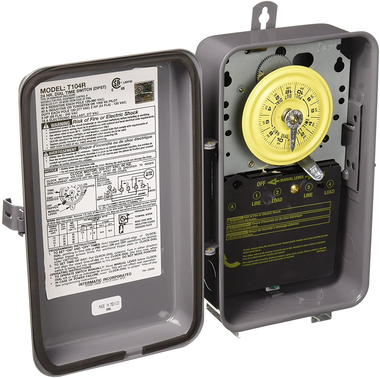 Intermatic T104R 24 Hour Mechanical Time Switch with Outdoor Case