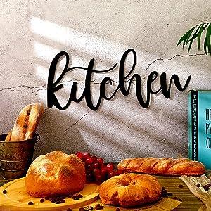 Kitchen Metal Cutout Sign Black Metal Kitchen Word Wall Decor Farmhouse Kitchen Metal Word Wall Art Kitchen Metal Word Sign for Home Dining Room Restaurant Kitchen Wall Decor, 15.7 x 6.7 Inch