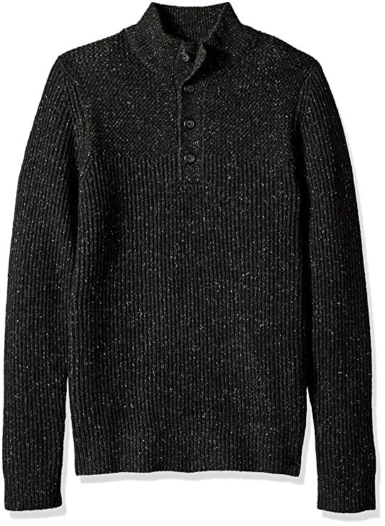 Van Heusen Men's Long Sleeve Ribbed 1/4 Button Sweater 7GG, Black Heather, Medium best men's sweaters