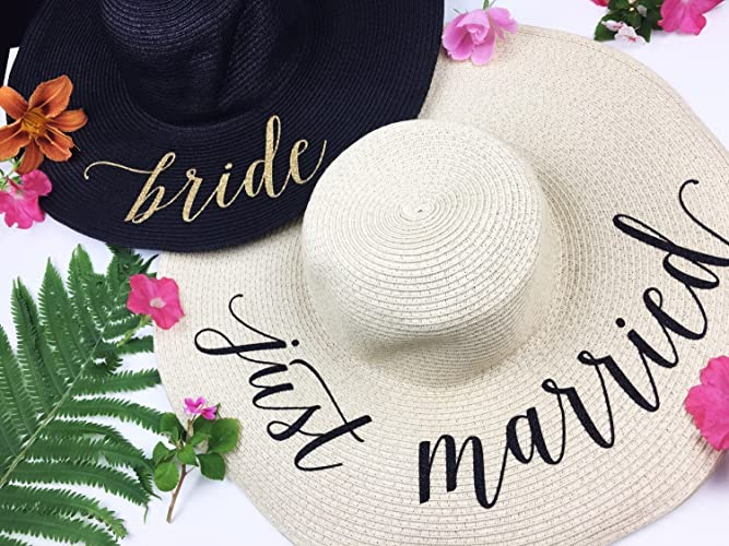 d5ef4788 Amazon.com: Just Married Honeymoon Beach Floppy Hat, Bride Beach hat, Beach  Hat, Honeymoon Hat, Floppy Bride Hat, Just Married Hat: Handmade