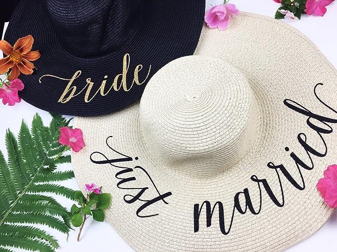b660094943aef Amazon.com  Just Married Honeymoon Beach Floppy Hat