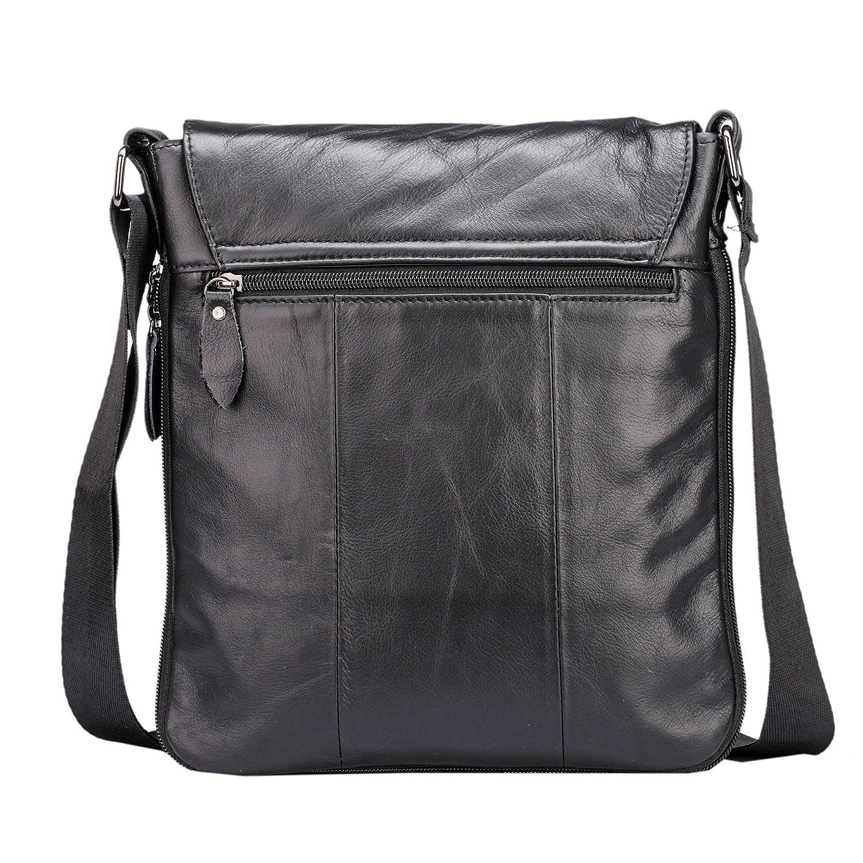 1e63aee23403 BAIGIO Mens Genuine Leather Shoulder Bag Vintage Small Messenger Business  Crossbody Bags iPad Bag School Satchel (Black)