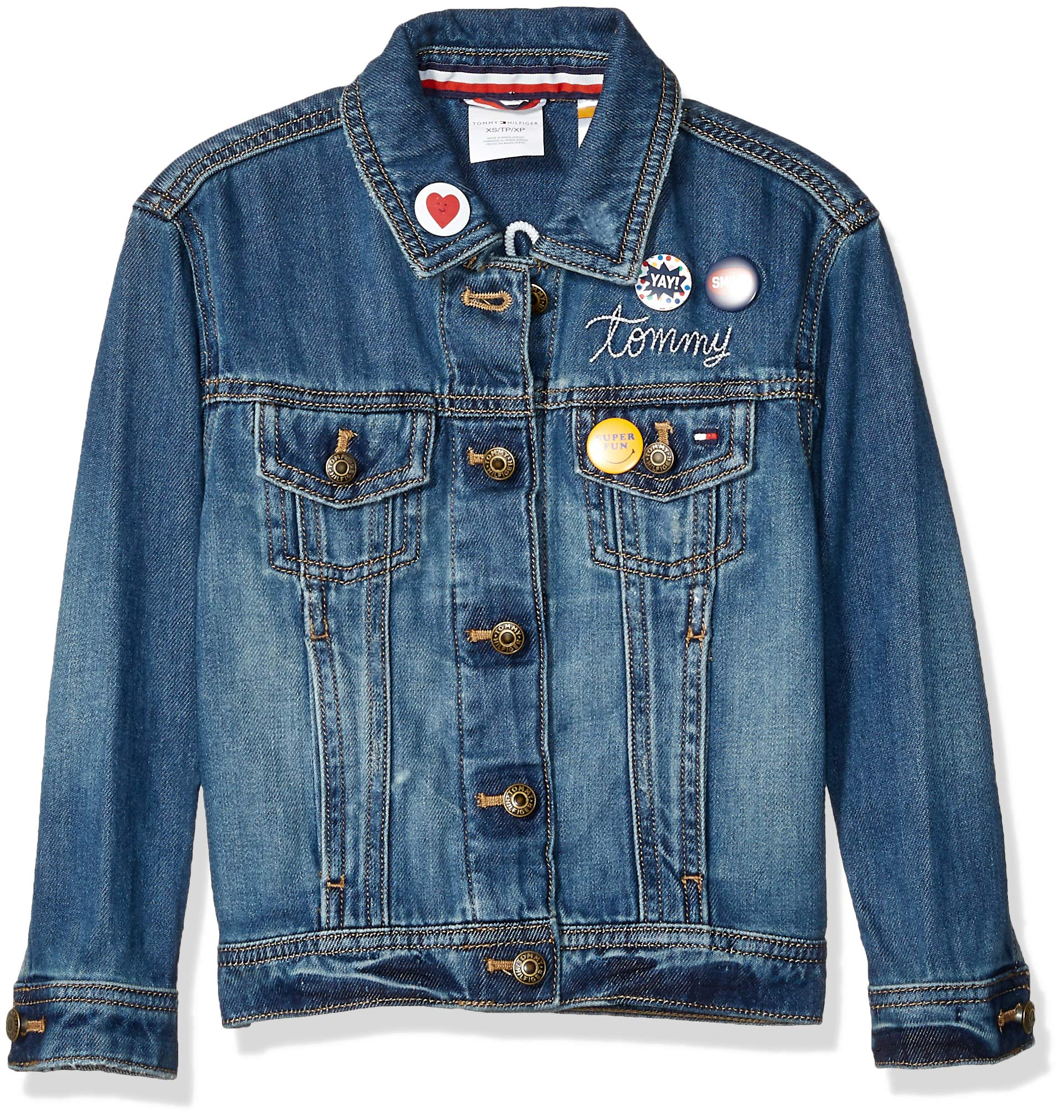 Tommy Hilfiger Girls' Adaptive Jean Jacket with Magnetic Buttons, Vegas Wash S by Tommy Hilfiger (Image #1)