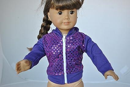 "Doll Clothes Purple Sequin Hoodie Sweatshirt Jacket For 18/"" American Girl Dolls"