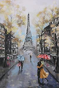 The Perfect Paris Wall Decor-24 x36 Canvas-France Eiffel Tower Wall Art, Couple Under an Red Umbrella On Street, Gallery Wrapped & Ready to Hang Paris Pictures for Wall.