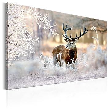 Murando   Bilder Hirsch 120x80 Cm   Leinwandbild   1 TLG   Kunstdruck    Modern