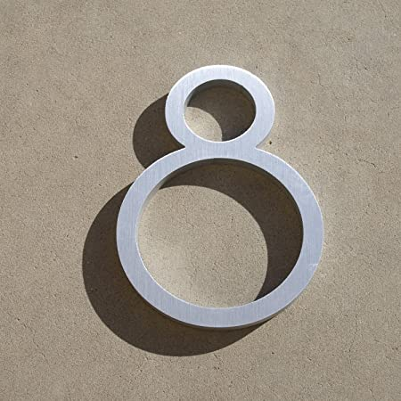 Contemporary Font House Number Aluminum Number Eight Inch - Contemporary house numbers