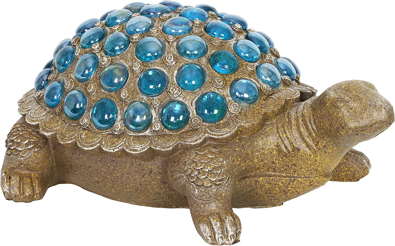 "Exhart Turtle Garden Statue w/Blue Accents – Durable, Resin Turtle Art Statue – Cute Rustic Design – Weather-Resistant Indoor & Outdoor Garden Décor for Lawn or Patio, (12.5"" x 9"" x 6"")"