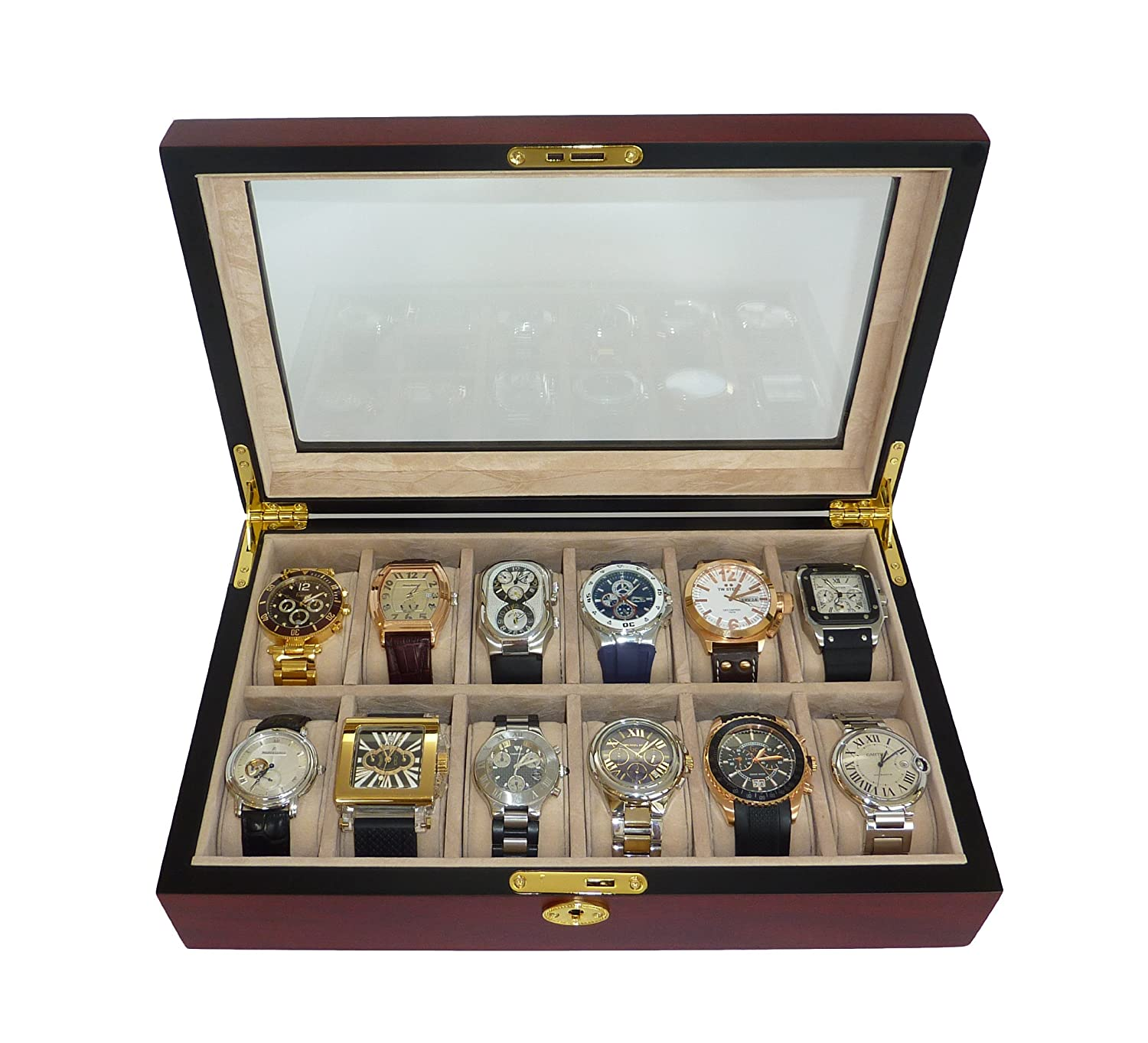 amazon com elegant 12 piece cherry wood rosewood watch box amazon com elegant 12 piece cherry wood rosewood watch box display case collection jewelry box storage glass top watches