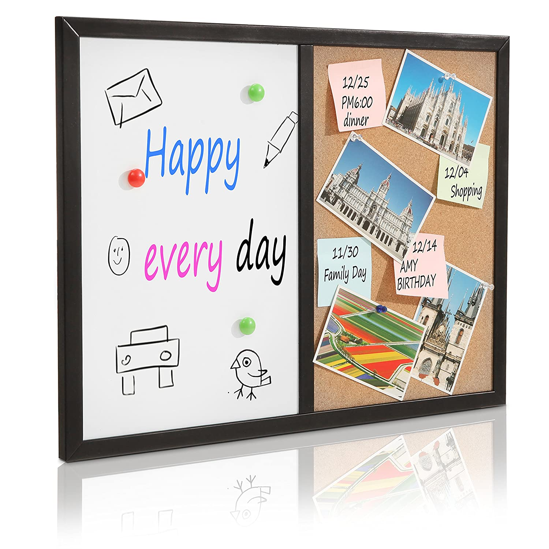 24 x 18 Black Aluminum Frame Wall Mounted Combination Dry Erase Whiteboard & Cork Board - MyGift