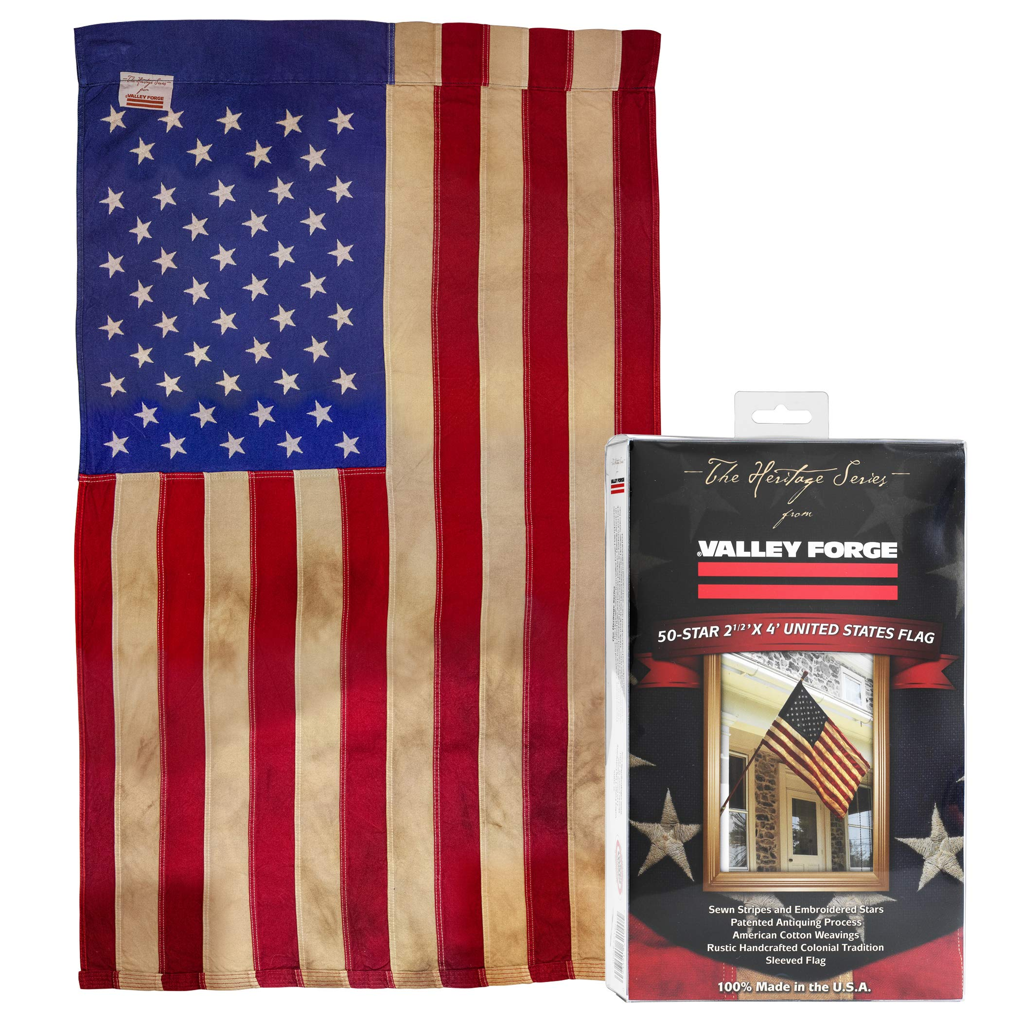 Valley Forge, American Flag, Poly Cotton, 2.5' x 4', 100% Made in USA, Heritage Series, Antiqued Colonial 50-Star US American Flag by Valley Forge