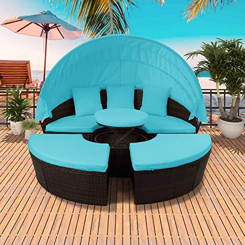 Merax Patio Round Daybed Furniture Set with Retractable Canopy, Coffee Table Waterproof Cushions, Outdoor Wicker Rattan Sectional Sofa Set for Garden Poolside Backyard Lawn Porch Blue