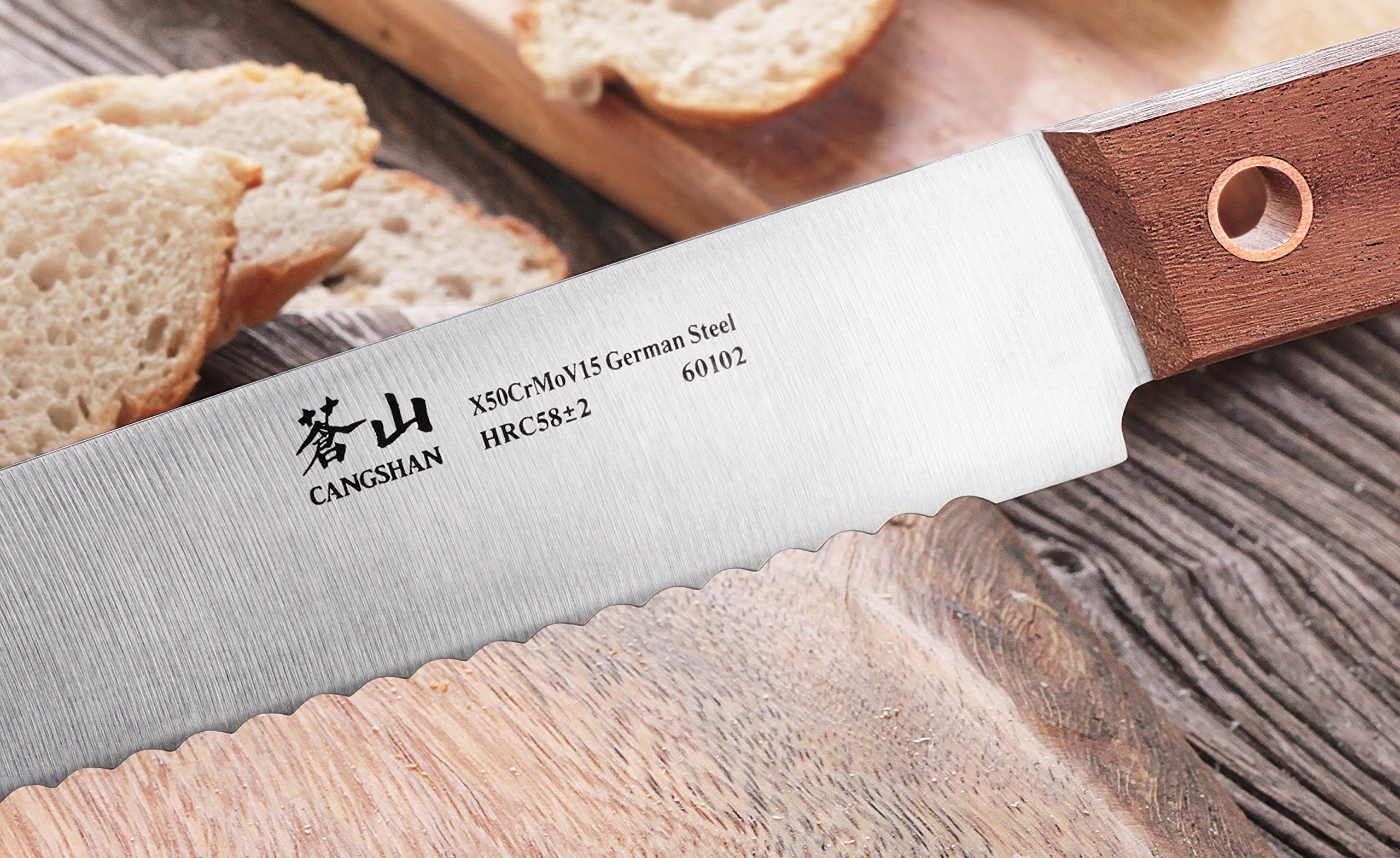 Cangshan W Series 60102 German Steel Bread Knife, 10.25'', Silver by Cangshan (Image #4)