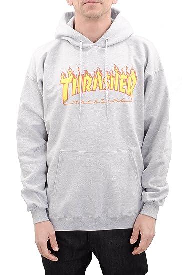 b6051f8f5d0 Thrasher Flame Logo Hoody Heather Grey XL: Amazon.co.uk: Clothing